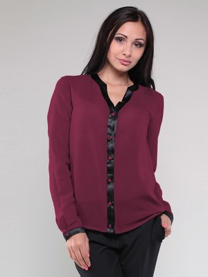 Блуза бордова з контрастним оздобленням | 1780771