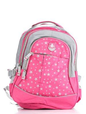 Рюкзак рожево-сірий з принтом і аплікацією | 1818906
