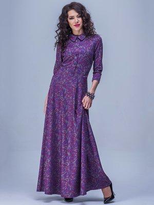 Платье фиолетово-серое в узор | 1686117