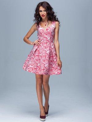 Платье красное в цветочный рисунок   1828146