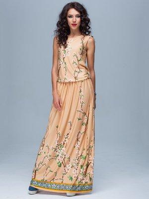 Сукня персикового кольору в квітковий принт | 1828153