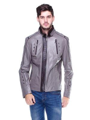 Куртка сіра з контрастним оздобленням і люверсами | 1830342