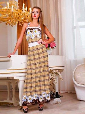 Платье клетчатое с комбинированными принтами | 1728341