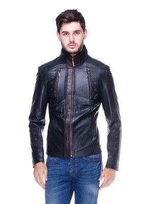 Куртка чорна з контрастним оздобленням і люверсами | 1830340