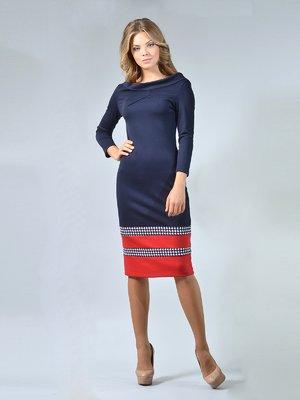 Сукня синьо-червона з оздобленням у гусячу лапку | 1835204