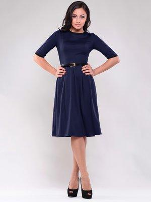 Платье синее с контрастной отделкой | 1838252