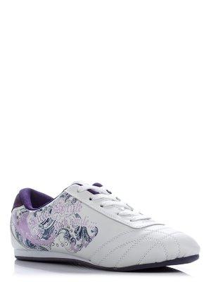 Кроссовки белые с декорированным принтом | 38939