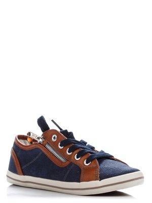Кеды синие с отделкой коричневого цвета | 363456