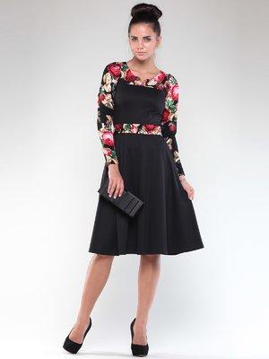 Сукня чорна з квітковим принтом | 1850896