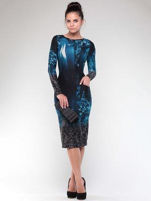 Платье темно-синее в принт | 1861170