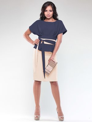Платье сине-бежевое | 1850732