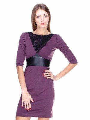 Платье лилового цвета со вставками | 1800663