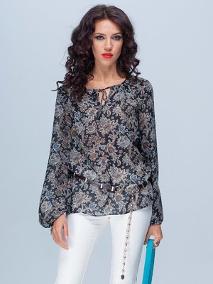 Блуза чорна в принт | 1885320