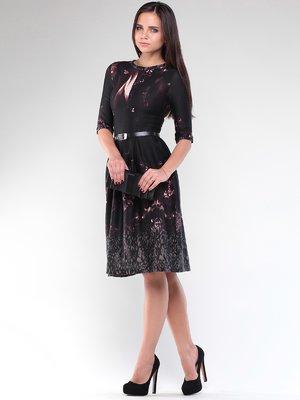 Платье черное в абстрактный принт | 1887552