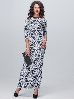Платье сине-белое в узор | 1888708