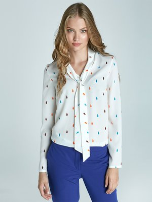 Блуза біла в принт | 1916310