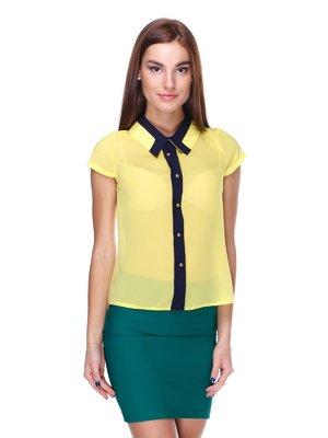 Блуза желтая с контрастной отделкой | 1920607