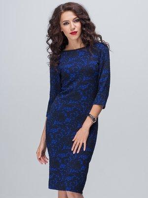 Платье синее в цветочный узор | 1925510
