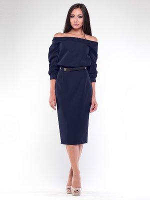 Сукня темно-синя з поясом | 1935695