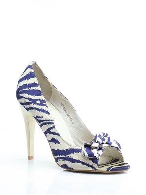 Туфли сине-бежевые в принт | 1792315