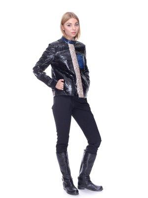 Куртка чорна з контрастними вставками | 1932272