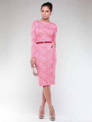 Платье темно-кораллового цвета в принт | 1970397