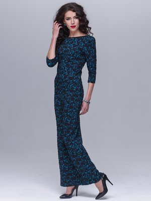 Платье бирюзовое в цветочный узор | 1982913