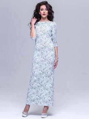 Платье серое в цветочный рисунок | 1996796