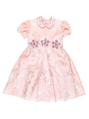 Платье персикового цвета с цветочным принтом и декором   3341776