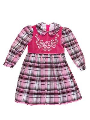 Сукня в клітинку з декорованою вишивкою | 3201911