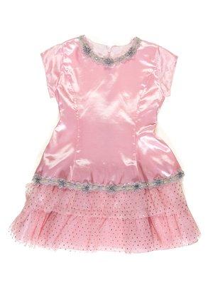 Сукня рожево-сіра в горох з декором | 3201871