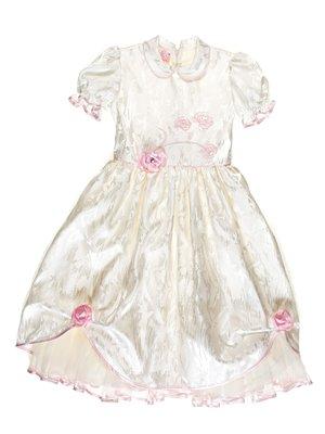 Платье молочного цвета в рисунок с декорированной вышивкой   3341533