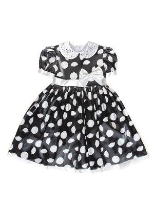Сукня сіро-чорна в білий горошок з декором | 3343221