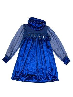 Сукня синя оксамитова | 3202033
