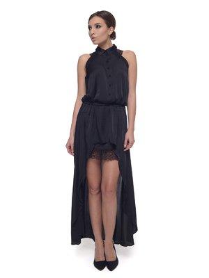Сукня чорна з мереживним оздобленням і асиметричним подолом | 576933