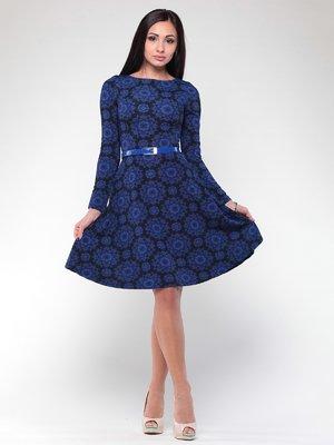 Платье черно-синее в цветочный принт | 2024092