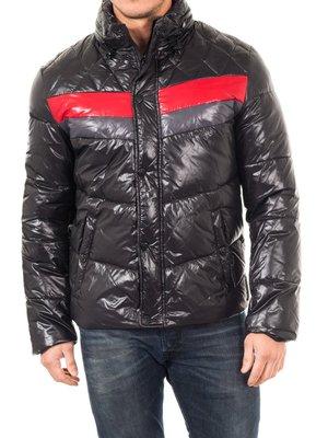 Куртка чорна з контрастними вставками | 2048374
