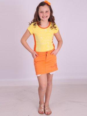 Юбка оранжевая с вышивкой | 2030237