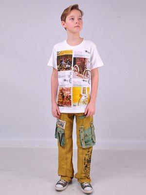 Штани, гірчичного кольору з принтом | 2054479