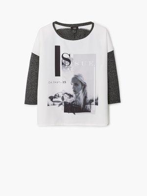 Блуза сіро-біла з принтом | 2076526