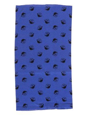 Шарф-снуд синий в принт | 2074459