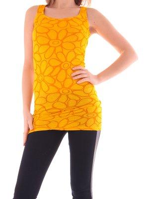 Майка помаранчева в квітковий принт | 2106724