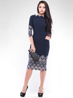 Сукня темно-синя в принт | 2097939