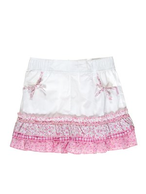 Спідниця біло-рожева з квітковим принтом | 2098360