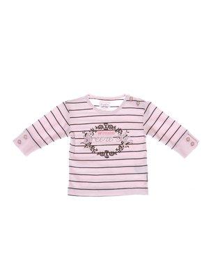 Джемпер рожевий в смужку з принтом | 2098188
