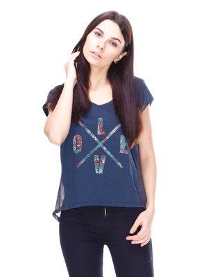 Блуза темно-серая с принтом | 2112608