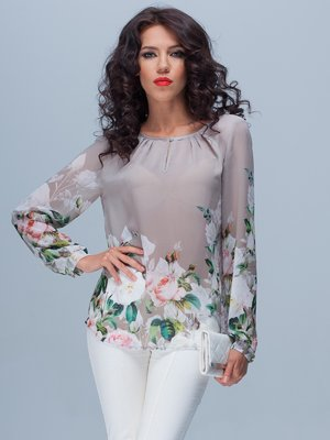 Блуза серая в цветочный принт   2119024