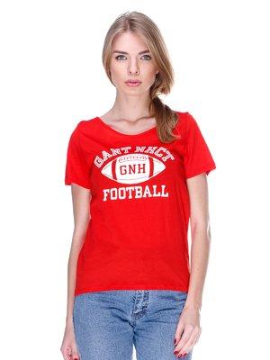 Футболка червона з принтом | 2112482