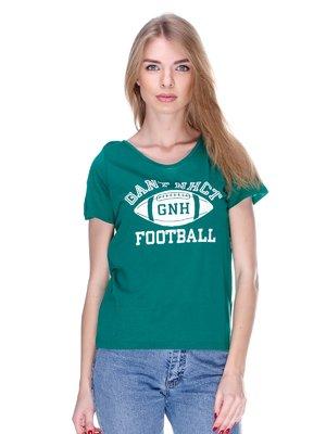 Футболка зелена з принтом | 2112481