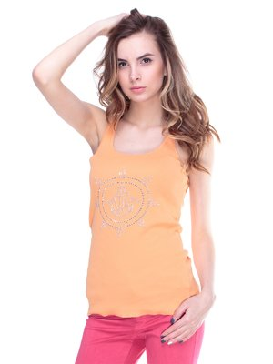 Майка оранжевая с декорированным рисунком | 2146840